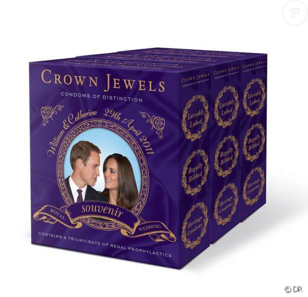 Malgré la mise en garde et les menaces de représailles de la reine, le business autour du mariage royal du prince William et de Kate Middleton fait tache d'huile : dernière folie en date, les Crown Jewels Condoms of Distinction, des capotes inutilisa