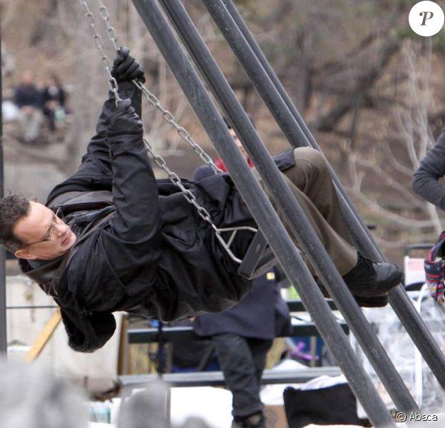 Tom Hanks sur le tournage de Extremely Loud And Incredibly Close, de Stephen Daldry, à Central Park, New York, le 22 mars 2011.