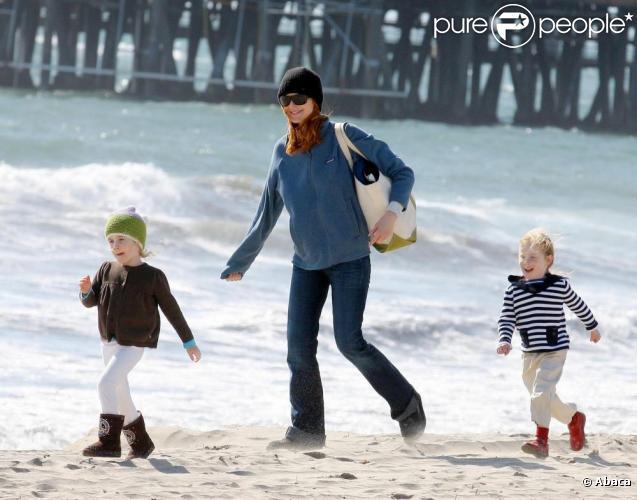 Marcia Cross et ses deux fillettes pour son anniversaire, 25 mars à Venice Beach