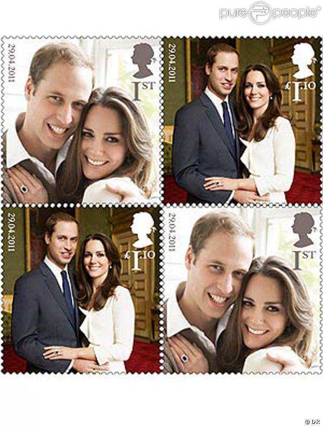 "Le prince William et Kate Middleton, qui ont ""enterré"" leur célibat le week-end du 26-27 mars dans le plus grand secret, font l'objet d'une série de timbres disponibles à partir du 21 avril 2011."