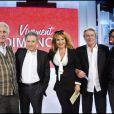 André Célarié, Michel Drucker, Clémentine Célarié, Alain Delon et Arnaud Giovaninetti lors de l'enregistrement de Vivement Dimanche (diffusion le 24 avril 2011 sur France 2)