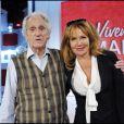 André Célarié et sa fille Clémentine Célarié lors de l'enregistrement de Vivement Dimanche (diffusion le 24 avril 2011 sur France 2)