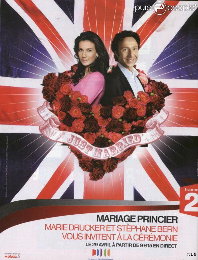 Stéphane Bern et Marie Drucker s'affichent en jeunes mariés pour promouvoir le mariage de Kate et William, qu'ils commenteront en  direct sur France 2 le 29 avril 2011.