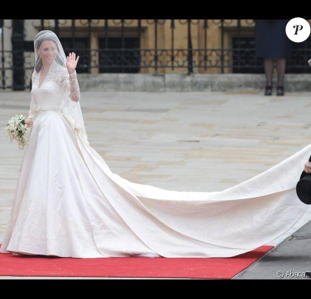 Kate Middleton lors de son mariage le 29 avril 2011 dans une robe Alexander McQueen