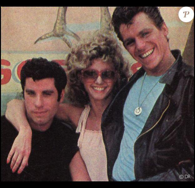 "Jeff Conaway avec John Travolta et Olivia Newton-Jon dans le film ""Grease"""