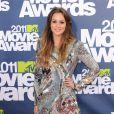 Bravo à Leighton Meester qui a choisi une robe réflechissante Balmain pour les MTV Movie Awards