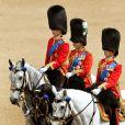 Le prince William et le duc de Kent lors du Trooping the Colour, célébration de l'anniversaire de la reine Elizabeth II, à Londres le 11 juin 2011