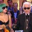 Lady Gaga et Karl Lagerfeld, très complices sur le plateau du  Grand Journal  de Canal+, le 15 juin 2011.
