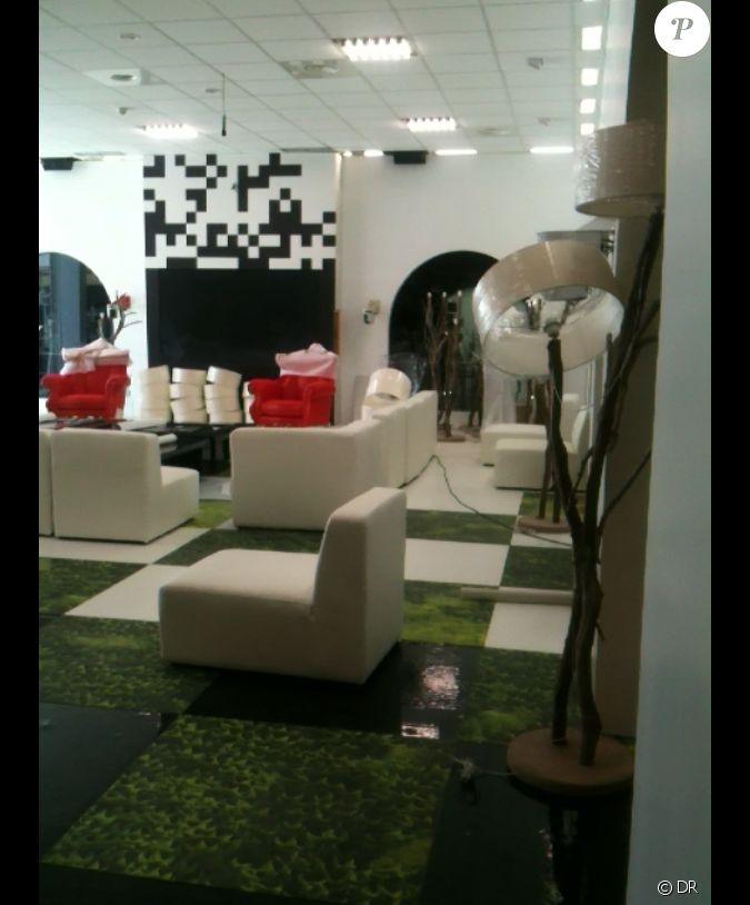 premi re photo du salon de la maison des secrets dans secret story 5. Black Bedroom Furniture Sets. Home Design Ideas