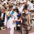 Le prince Edward et son épouse Sophie de Wessex sur le tapis rouge du Palais Princier de Monaco, pour le mariage religieux du prince Albert et de la princesse Charlene.   Le prince Albert II de Monaco et Charlene Wittstock avaient convié près de 800 invités, dont beaucoup de têtes couronnées (les cours d'Europe étaient notamment bien plus représentées qu'au mariage de William et Kate), à leur mariage religieux, le 2 juillet 2011 en Principauté.