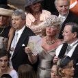 Le prince héritier Alexander II de Serbie et la princesse Katherine dans la cour d'honneur du Palais Princier de Monaco, pour le mariage religieux du prince Albert et de la princesse Charlene.   Le prince Albert II de Monaco et Charlene Wittstock avaient convié près de 800 invités, dont beaucoup de têtes couronnées (les cours d'Europe étaient notamment bien plus représentées qu'au mariage de William et Kate), à leur mariage religieux, le 2 juillet 2011 en Principauté.