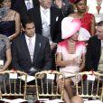Louis de Bourbon, duc d'Anjou, et sa femme Margarita, avec Charles de Bourbon des Deux-Siciles, duc de Castro, et son épouse Camilla, dans la cour d'honneur du palais pour le mariage religieux du prince Albert et de la princesse Charlene.   Le prince Albert II de Monaco et Charlene Wittstock avaient convié près de 800 invités, dont beaucoup de têtes couronnées (les cours d'Europe étaient notamment bien plus représentées qu'au mariage de William et Kate), à leur mariage religieux, le 2 juillet 2011 en Principauté.