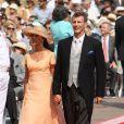 La princesse Marie et le prince Joachim de Danemark sur le tapis rouge du Palais Princier de Monaco, pour le mariage religieux du prince Albert et de la princesse Charlene.  Le  prince Albert II de Monaco et Charlene Wittstock avaient convié près de  800 invités, dont beaucoup de têtes couronnées (les cours d'Europe  étaient notamment bien plus représentées qu'au mariage de William et  Kate), à leur mariage religieux, le 2 juillet 2011 en Principauté.