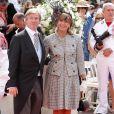 Le prince Leopold de Bavière et la princesse Ursula sur le tapis rouge du Palais Princier de Monaco, pour le mariage religieux du prince Albert et de la princesse Charlene.  Le  prince Albert II de Monaco et Charlene Wittstock avaient convié près de  800 invités, dont beaucoup de têtes couronnées (les cours d'Europe  étaient notamment bien plus représentées qu'au mariage de William et  Kate), à leur mariage religieux, le 2 juillet 2011 en Principauté.
