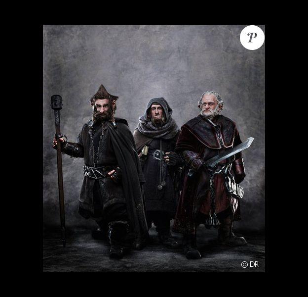 Nori (Jed Brophy), Ori (Adam Brown) et Dori (Mark Hadlow)  pour le photographe James Fisher