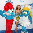 Katy Perry entourée de Schtroumpfs, à New York. 24 juillet 2011