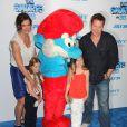 Brooke Shields, son mari Chris Henchy et leurs filles lors de la première mondiale des Schtroumpfs, à New York. 24 juillet 2011