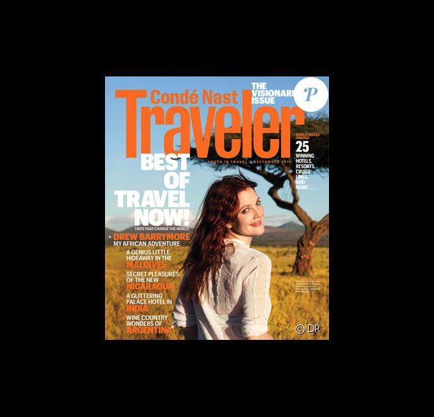 Drew Barrymore en couverture de la revue Traveler