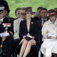 Le prince Frederik et son épouse la princesse Mary au côté de la reine Margrethe.   La famille royale danoise était rassemblée à la citadelle (Kastellet) de Copenhague, lundi 5 septembre 2011, pour un hommage aux soldats danois tombés au champ d'honneur en oeuvrant pour la paix au sine de l'ONU ou de l'OTAN.