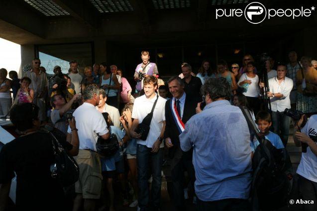 Christophe Lemaître assiste à l'hommage qui lui est rendu à la mairie d'Aix-les-Bains, vendredi 9 septembre.