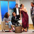 Alexandre Brasseur et Delphine Depardieu répètent la pièce De filles en aiguilles, au Théâtre de la Michodière, à Paris. Le 14 septembre 2011