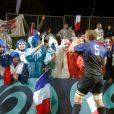 Les tribunes étaient colorées lors de la victoire française en Coupe du Monde de rugby face au Canada en Nouvelle-Zélande le 18 septembre 2011