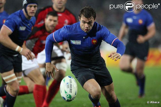 Vincent Clerc a marqué trois essais lors de la victoire française en Coupe du Monde de rugby face au Canada en Nouvelle-Zélande le 18 septembre 2011