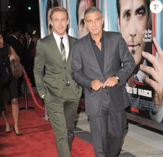 George Clooney et Ryan Gosling lors de l'avant-première du film Les Marches du pouvoir à Beverly Hills le 27 septembre 2011