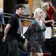 Mike Myers et son épouse Kelly Tisdale encore enceinte, à New York, le 17 août 2011.