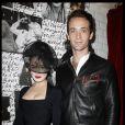 Dita Von Teese et son compagnon Louis Marie de Castelbajac lors de la soirée Maison Michel & Rika Magazine à Paris le 2 octobre 2011