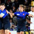 Heymans, Barcella et Swarzewski exultent.   Le XV de France a su se transcender et retrouver les valeurs du combat pour dominer (19-12) le XV de la Rose le 8 octobre 2011 et accéder aux demi-finales du Mondial de rugby 2011.