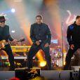 Jackie, Tito et Marlon Jackson lors du concert hommage à Michael Jackson, à Cardiff le 8 octobre 2011