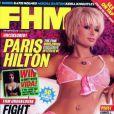 Paris Hilton, très chic en lingerie rose, fait la couverture du magazine FHM. Mars 2004.