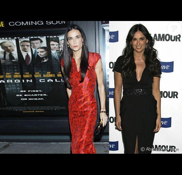 Demi Moore le 17 octobre 2011 (Bestimage) et en 2008, en pleine forme(s) (Abaca)