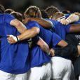 L'équipe de France lors de la finale de la Coupe du monde de rugby remportée par les All Blacks le 23 octobre 2011 à l'Eden Park d'Auckland