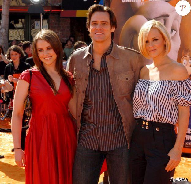Jane, son père Jim Carrey et l'ex de ce dernier Jenny McCarthy, à Los Angeles, le 8 mars 2008.