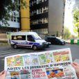 """French satirical weekly Charlie Hebdo pictured in front the headquarters near a police car, Paris, France on September 19, 2012 the last issue which features on the front cover a satirical drawing entitled """"Intouchables 2"""". Inside pages contain several cartoons caricaturing the Prophet Mohammed. Photo by Mousse/ABACAPRESS.COM19/09/2012 - Paris"""