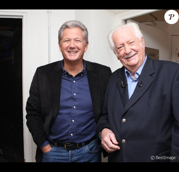 Pierre Dhostel et Pierre Bellemare sur le tournage de Vendredi sur un plateau (émission diffusée le vendredi 11 novembre 2011).