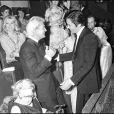 Jean Marais et Alain Delon lors du Gala de l'Union des artistes 1974.