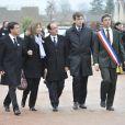 Manuel Valls, François Hollande et sa compagne Valérie Treirweiller, Arnaud Montebourg et Jean-Luc Delpeuch lors des funérailles de Danielle Mitterrand à Cluny le 26 novembre 2011