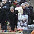Proches de Danielle Mitterrand lors des funérailles de Danielle Mitterrand à Cluny le 26 novembre 2011