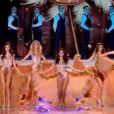 Les cinq finalistes dans un tableau sur Satine, Moulin Rouge lors de l'élection de Miss France 2012, le samedi 3 décembre 2011, à Brest