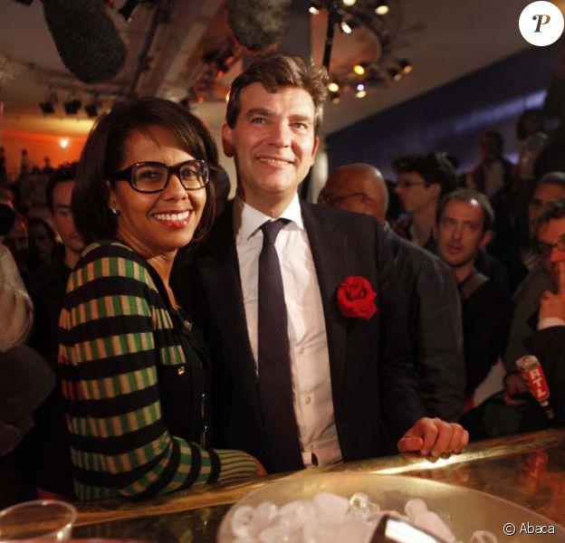 Audrey Pulvar et Arnaud Montebourg, le soir du premier tour des primaires socialistes, à Paris, le 9 octobre 2011.