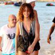 Rihanna s'éclate à la Barbade avec son petit frère le 29 décembre 2011