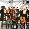 Jean-Paul Gaultier et ses mannequins à Paris, le 19 janvier 2012.