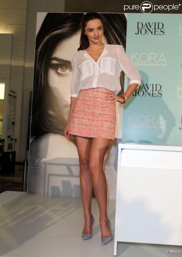 Miranda Kerr lors de la présentation de sa marque de cosmétiques à Sydney