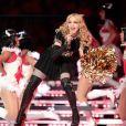 Madonna performe sur scène lors de la mi-temps du 66ème Superbowl en février 2012 à Indianapolis