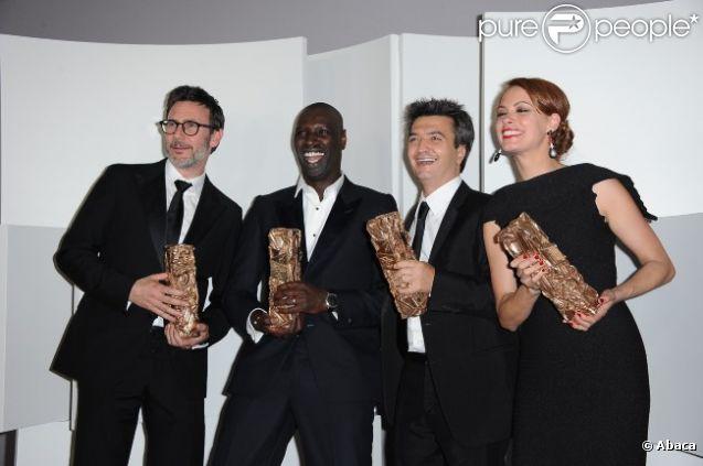 Michel Hazanavicius, Omar Sy, Thomas Langmann et Bérénice Bejo aux César le 24 février 2012