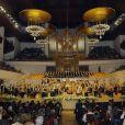 L'auditorium national de Madrid était plein à craquer pour le 10e concert hommage aux victimes du terrorisme, le 29 février 2012, en présence du roi Juan Carlos Ier et de la reine Sofia d'Espagne.