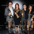 Michel Hazanavicius, Bérénice Bejo, Thomas Langmann lors de la soirée The Artist au restaurant Le Georges à Paris le 6 mars 2012